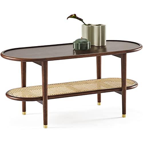 Harmati Mesa de centro para sala de estar, mesa de nogal, con almacenamiento, mesas modernas de mediados de siglo, patas de madera maciza y ratán natural
