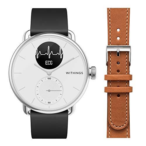 Withings ScanWatch mit Zusatzarmband im Bundle - Hybrid Smartwatch mit EKG, Herzfrequenzsensor und Oximeter, 38mm, weiß, mit 18mm FKM-Armband schwarz + zusätzliches 18mm Lederarmband braun