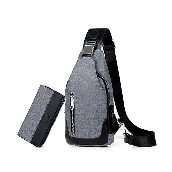 416tOiV3Z9L. SS600  - FANDARE Bolsa de Pecho Hombres con Bolsos de Mano Bolsa Deportiva de Hombro Bolsa de Mochila con USB,para Acampada,Viaje…