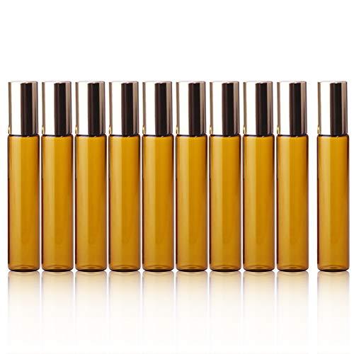 iKulilky 10 PCS Flacon Vaporisateurs, Réutilisables Glass Bottle d'or Cover Small Perfume Bottle Bille Bouteille Acier Balle Couvercle en Petite Bouteille D'échantillon