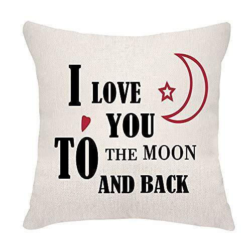 VEEMIZO Fundas de cojín para regalo del día de San Valentín, novio, marido, esposa, funda de almohada de 45,7 x 45,7 cm, con texto 'I Love You to The Moon and Back