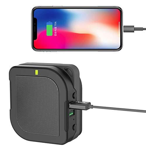 E-KIA Enchufe Universal Adaptador Viaje,Tesoro De Carga 6000mah + Enchufe De ConversióN De Audio Bluetooth, HiFi InaláMbrico,Black