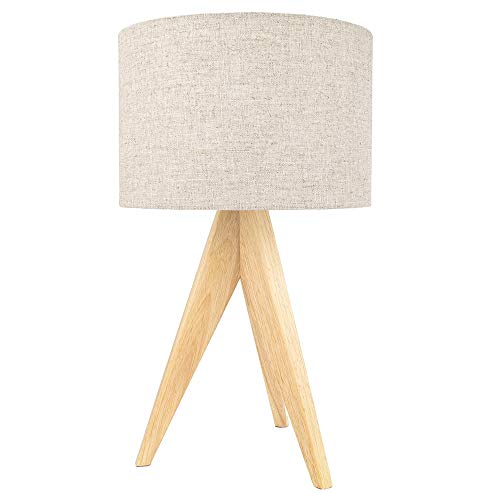Large Rubber Brown Wood Tripod Table Lamp with 12' Natural Linen Oatmeal Drum Shade | Inline Switch | 60watt Maximum by Happy Homewares