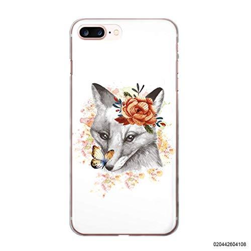 blitzversand Funda para teléfono móvil Fox Fox Fox compatible con Samsung Galaxy S5 Mini, diseño de zorro con mariposas, carcasa transparente alrededor de protección dibujos animados M7