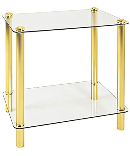 Haku Möbel Beistelltisch - Glastisch eckig - vermessingt 2 Ablagen H 49 cm