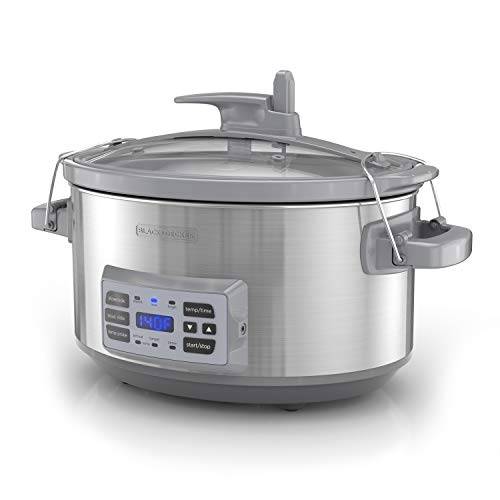 BLACK+DECKER SCD7007SSD 7-Quart Digital Slow Cooker with Temperature Probe + Precision Sous-Vide, Capacity, Stainless Steel