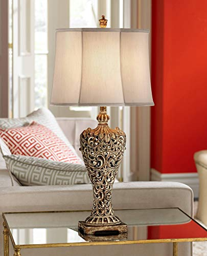 Elle Traditional Antique Tall Table Lamp Classic Gold Open Scroll Bronze Off White Oval Shade Decor for Living Room Bedroom House Bedside Nightstand Home Office Entryway Family - Regency Hill