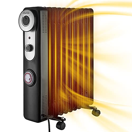 Cliselda 2.5KW Oil Filled Radiator,11 Fins,3 Power Settings,24 Hour Timer - 2500W Portable Electric Heater with Adjustable Thermostat,Energy Efficient,Tip Over Switch and Overheating Protection,Black