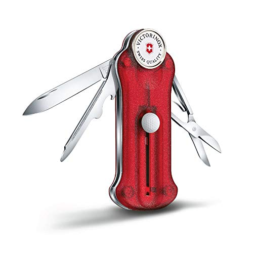 Victorinox Golf Tool, Multitool de Poche Suisse, 10 Fonctions, Marque Balle, Relève Pitch, Rouge Transparent