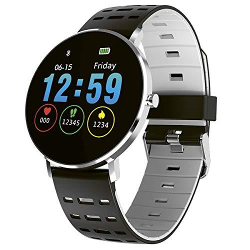 Fitnesstracker mit Herzfrequenz Puls Blutdruck Schlaf Schritte Farbdisplay Smartwatch Armband Uhr - 9706 (Grau/Schwarz)