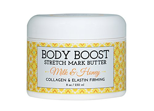 Body Boost Milk & Honey Stretch Mark Butter 8 oz.-Treat Stretch Marks and Scars- Toxicologist Approved as Safe for Pregnancy and Nursing- Allergen Free