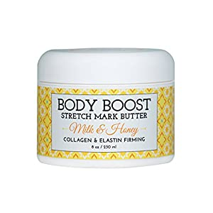 Body Boost Milk & Honey Stretch Mark Butter 8 oz.-Treat Stretch Marks and Scars- Pregnancy and Nursing Safe- Allergen Free