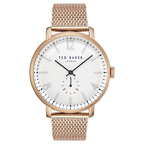 TED BAKER- OLIVER GENTS ROSE GOLD WHITE DIAL MESH BRACELET WATCH