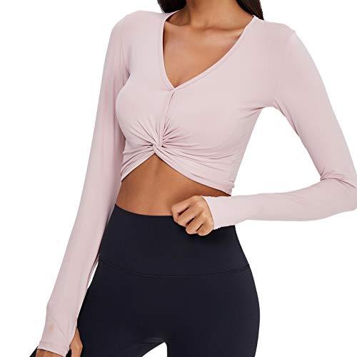 SotRong Camiseta de yoga recortada con cuello en V y sensación desnuda de Pilates Slim Gym manga larga color puro entrenamiento atlético camisa