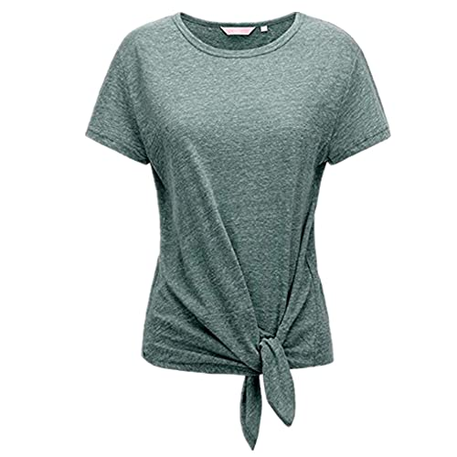 Camiseta Mujer Manga Corta Cuello Redondo Color Sólido Camiseta Ajustada Suave Cómodo Moda Casual Sport Top Mujer Chic Elegante All-Match Tops Mujer A-Green XL
