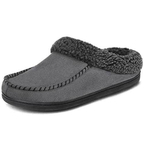 ULTRAIDEAS - Zapatillas de ante con espuma viscoelástica para hombre, con forro de lana de felpa difusa y sin cordones, zapatos de casa con suela de goma antideslizante para interiores y exteriores., negro