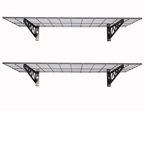 SafeRacks | Garage Wall Shelf Two-Pack 24'x48' | Includes Bike Hooks | 500lb Capacity (24'x48', White)