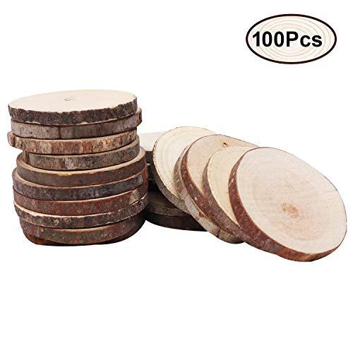 Kurtzy Runde Natur Holzscheiben (100 Stück) - Rustikale Holzscheiben zum Basteln (4-6cm) - Holzscheiben Deko mit Rinde und Weiche Oberfläche 5mm Tiefe Holzplättchen für Deko, DIY, Basteln, Scrapbook