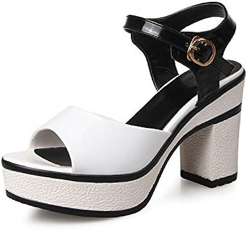 NVLXIE Sandales de Les Les dames été Noir et Blanc Chaussures à Talons Hauts Porter Un Talon Grossier Shopping Party Noir et Blanc 9cm