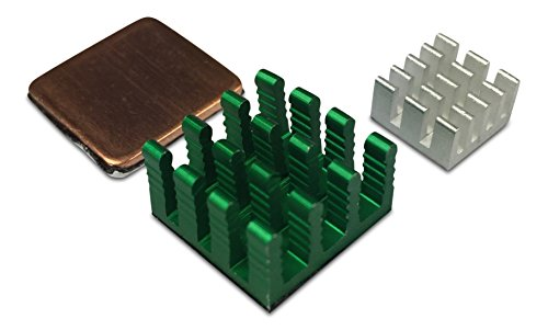 GorillaPi disipador de Calor para Raspberry Pi 3y Pi 2Modelo B. 3pc Set (x1x2de Cobre Aluminio) con Pre Instalado refrigeración disipador de Calor Adhesivo ofreciendo un Gran Ventaja.