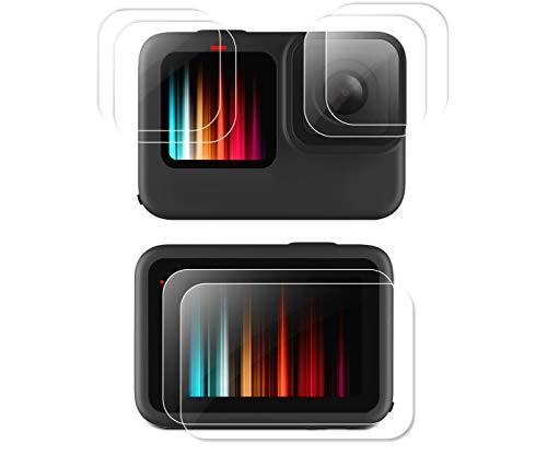 【 6枚入り】GoPro Hero9 Black 強化ガラスフィルム TUTUO【高透過率/耐衝撃/キズ防止/撥水/撥油性/気泡ゼロ/飛散防止】スクリーン+レンズ+LED保護フィルム2セット