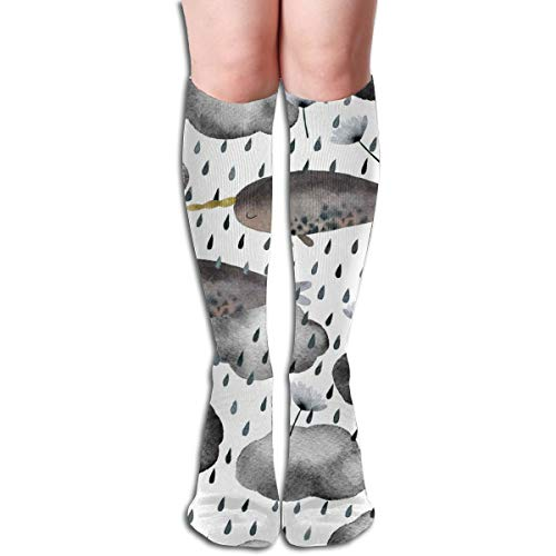 Akhy Narwhales Clouds Rain Drops Socks For Women Men Polyester Casual Crew Tube Stockings Knee High Socks For Running Yoga Training