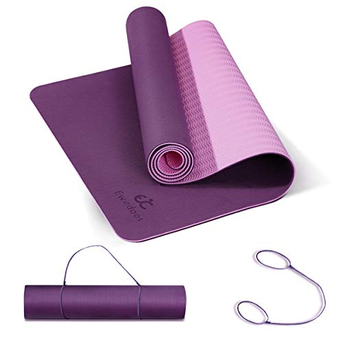 Ewedoos Yoga Mat Non Slip TPE Yoga Mats Exercise Mat Eco Friendly Workout Mat for Yoga, Pilates and Floor Exercise Thick Fitness Mat Carry Strap Included (Purplepink)