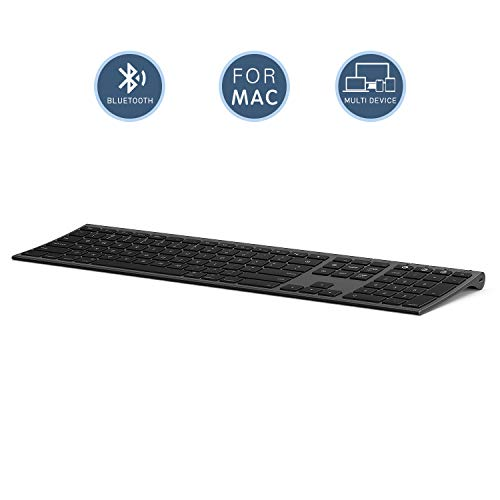 Multi-Device Keyboard for Mac OS/ iOS/ iPad OS, Jelly Comb Bluetooth Keyboard for MacBook Pro/Air, iMac, iPhone, iPad Pro/ Air/ Mini, New iPad| Connect Up To 3 Devices (Space Gray, Rechargeable)