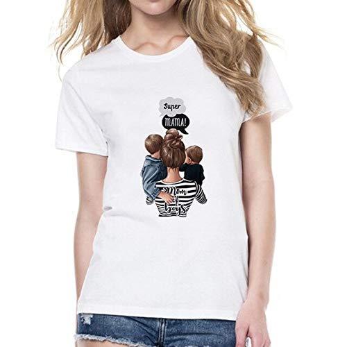 ADSIKOOJF T-shirts voor Vrouwen Moederliefde Print Wit T-shirt T-shirt T-shirt Katoen T Shirt Tops Streetwear Kleding