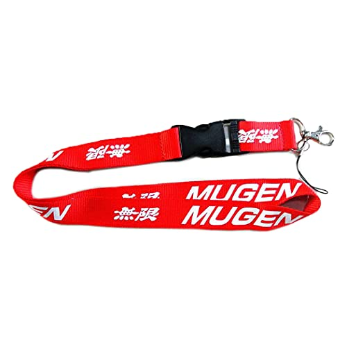 JDM Red Lanyard with Detachable Clip for Motorcycle Key ID Card Mobile Phone Badge Holder Motorcyclist use