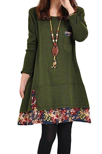 La Mujer Elegante De Manga Larga Estampado Floral Vintage 1940 Patchwork Una Linea De Vestido De Otoño Suelta Green XL