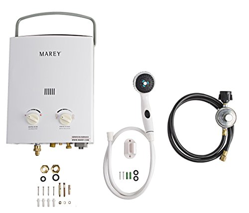 Marey GA5PORT Portable Propane Gas Tankless Water Heater, Small, White