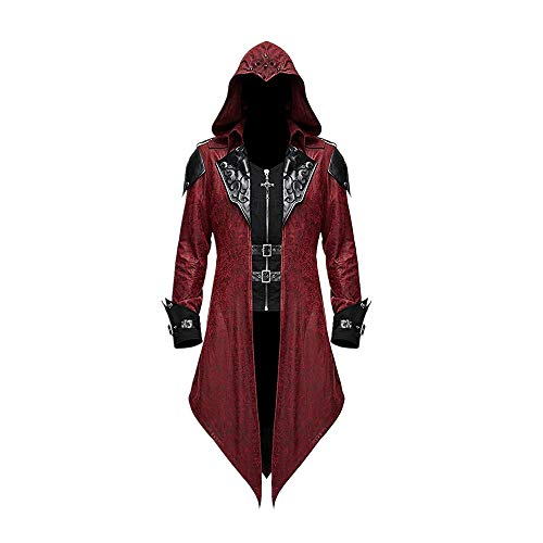 Devil Fashion Men's Steampunk Gothic Hooded Leather Jacket Coat Halloween Cosplay Stage Performance Costume