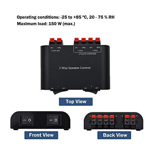 ADWITS Sélecteur de Haut-parleurs à 2 canaux avec bornier de 150 W RMS par Canal, Noir