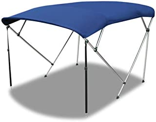 Max Motosports 4 Bow Bimini Top Boat Cover Blue 54 H 67 - 72 W 8 ft with Rear Poles and Integrated Sock