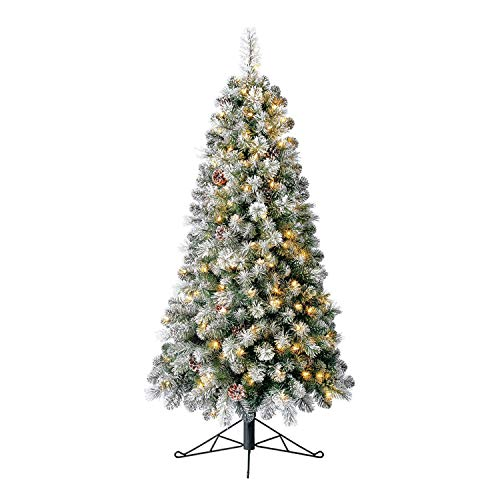 Home Heritage 5 Foot Snow Flocked Half Pine Prelit Artificial Christmas Tree with Pinecones, Warm White LED Lights, On/Off Foot Pedal, and Metal Stand
