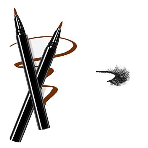 Magic Self Adhesive Eyeliner, New Eyelashes Viscosity Eye Liner Pen, Best Waterproof Paste Liqiuid Liner pencil (Lt.Brown)