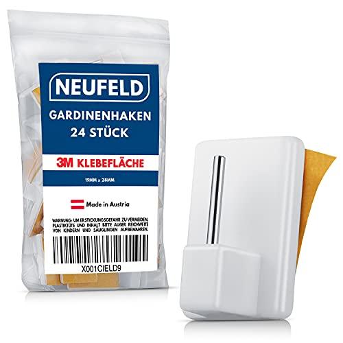 NEUFELD® 24 Gardinenhaken selbstklebend weiß [inkl. 3M Klebefläche] - Gardinenstangen Klebehaken ohne Bohren für Vorhänge & Scheibengardinen