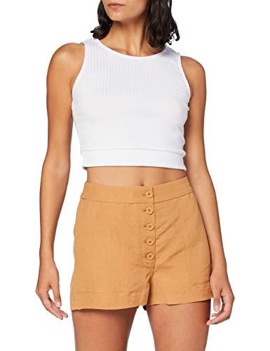 Superdry Damen Eden Linen Shorts, Braun (Biscuit 50O), S (Herstellergröße:10)