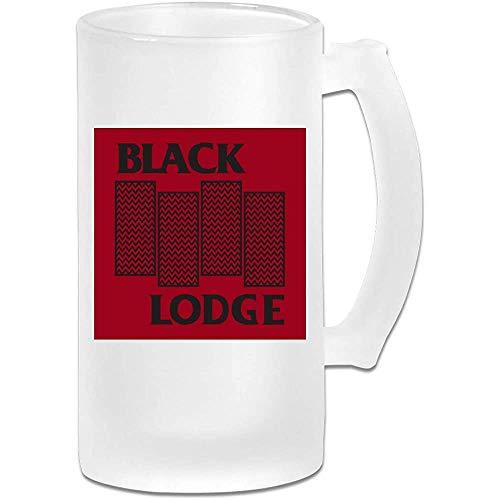 Taza de jarra de cerveza de vidrio esmerilado impresa de 16 oz - Twin Peaks Black Lodge Black Flag Logo - Taza gráfica