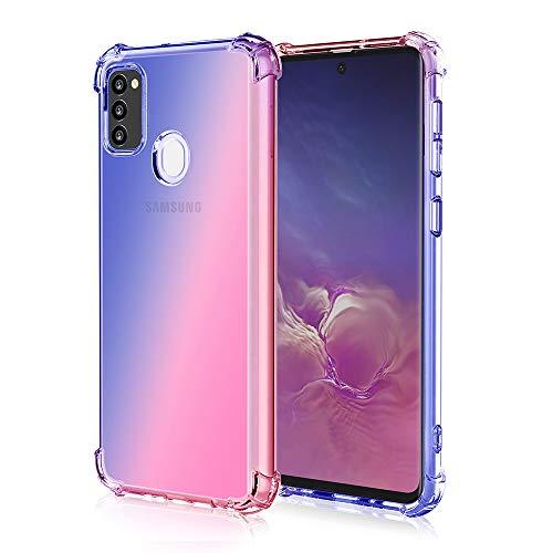 Fodral till Samsung Galaxy M21 fodral, iriserande lutning bakbord hög sida skärm design TPU mjukt skal skal skal skal stötsäkert telefonskal lämplig för Samsung Galaxy M21-blå rosa