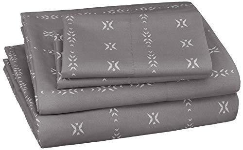 AmazonBasics Soft Microfiber Sheet Set with Elastic Pockets - Queen, Grey Simple Stripe