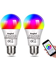 Bombilla Inteligente LED WiFi,Aogled E27 LED 9W Regulable,Alexa Bombillas LED RGBCW Mood con control remoto, funciona con Alexa y Google Home, no requiere concentrador,2.4Ghz Wi-Fi LED,paquete de 2