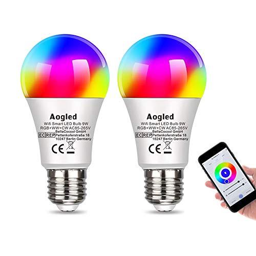 Glühbirnen E27 WLAN LED Lampen Aogled, Smart LED 9W 240V,60w Halogen Glühbirnen Equivalent,Dimmbare RGBCW WiFi Birne Kompatibel mit Alexa,Google Home,Kein Hub Required,2.4GHz E27 2700K-6500K(2er Pack)