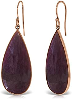 14k Solid Gold Fish Hook Earrings with Checkerboard Cut Pear Shape Rubies