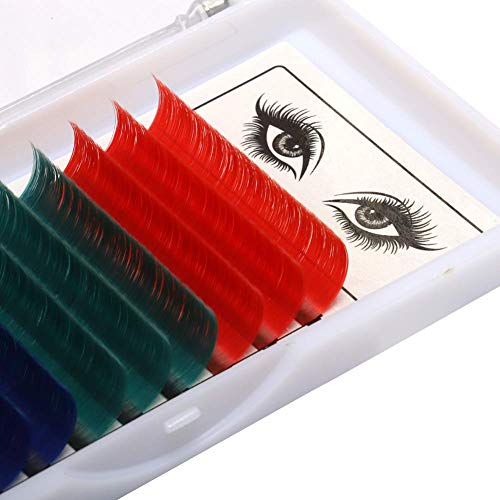 Extension Ciglia Colorate Volume Russo 2D 3D 5D 6D 8D 10D- 0,07 D Curl 13mm - Rosso Verde Blu Viola -Seta Naturale Ciuffi Ciglia Individuali Professionale di GEMERRY (0.07-D curl-13mm)