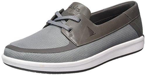 Clarks Nautic Harbour, Zapatos de Cordones Oxford para Hombre, Gris (Light Grey), 43 EU