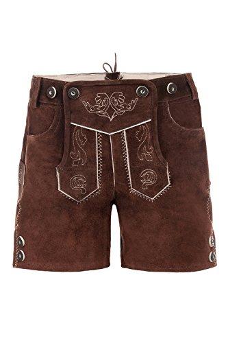 Bayerische Kinder Trachten-Leder Hose kneebound oder Hose kurz für Kinder, Mädchen und Jungen, farbe -Braun,164