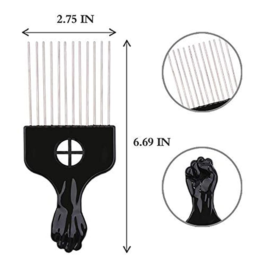 民間人遠近法受粉者Afro Hair Pik - Afro Styling Pick, Metal #2410: Untangle, Style, Lift (1 Pack), Hair style, lifts your hair, untangles hair, metal teeth, hair pick [並行輸入品]