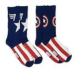 Captain America Marvel Comics Men's 2 Pack Athletic Crew Socks